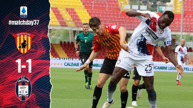 Benevento-Crotone 1-1, highlights. Al lumicino le speranze salvezza dei sanniti