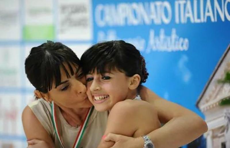 Alessia d'Angeli con la sua allenatrice