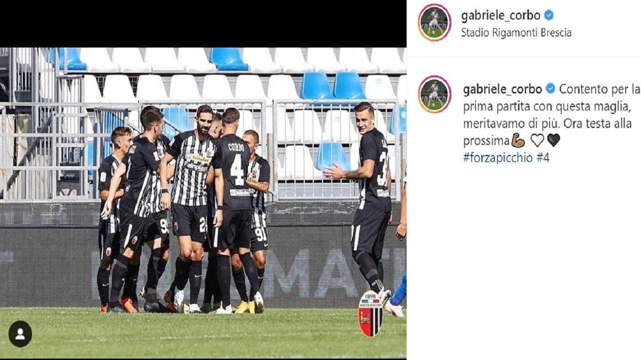 Brescia-Ascoli 1-1, Corbo: ''Contento per prima partita con questa maglia, meritavamo di più''