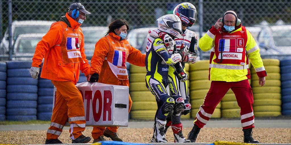 Fenati e Lopez dopo la caduta a Le Mans