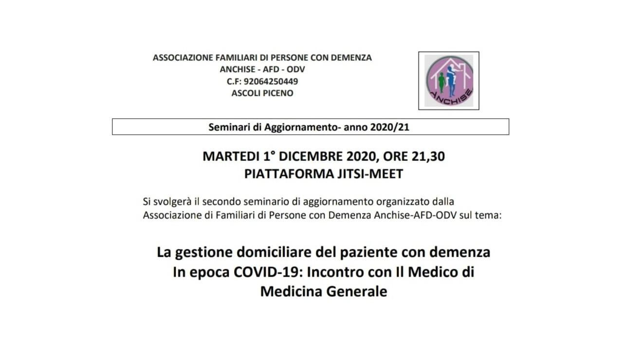 Ascoli Piceno, seminario online dell'Anchise per gestione pazienti con demenza al tempo del Covid