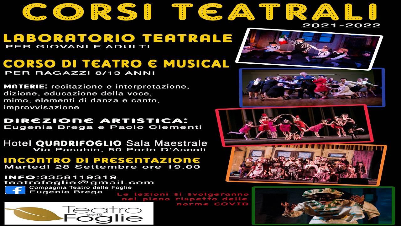 Porto d'Ascoli, il Teatro delle Foglie riapre i corsi presso l'Hotel Quadrifoglio
