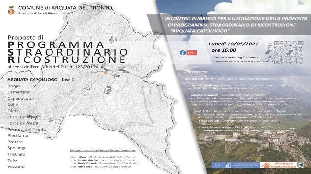 Arquata del Tronto, incontro pubblico online per illustrare Programma Straordinario Ricostruzione