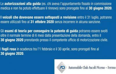 Coronavirus: Automobile Club Ascoli-Fermo, elenco di tutto le proroghe del settore auto