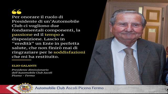 Automobile Club Ascoli-Fermo in lutto per la scomparsa dello storico presidente Galanti