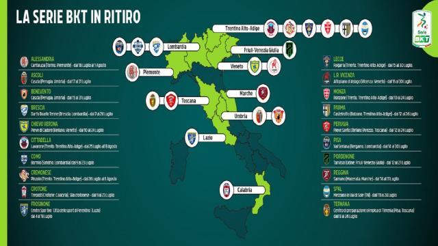 Serie B, le sedi dei ritiri delle 20 squadre cadette. Ascoli e Benevento scelgono Cascia
