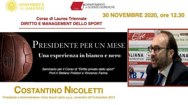 Ascoli Calcio, seminario online Università del Salento sull'esperienza in bianconero di Nicoletti