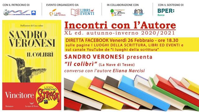 ''I luoghi della scrittura'', incontro online con Veronesi (vincitore Premio Strega 2020)