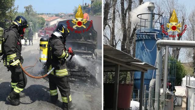 Vigili del Fuoco, interventi a Fermo e Porto San Giorgio per incendi a sistema di filtraggio e autovettura