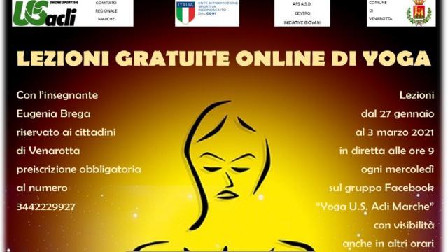 """""""Il valore sociale dello sport"""", al via lezioni online gratuite di yoga per i cittadini di Venarotta"""