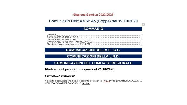 Coronavirus: Coppa Italia Eccellenza Marche, rinviata Atletico Azzurra Colli-Atletico Ascoli
