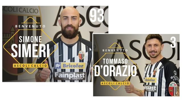 Ascoli Calcio, ufficiali arrivi in prestito di Simeri e D'Orazio. Scelti numeri di maglia