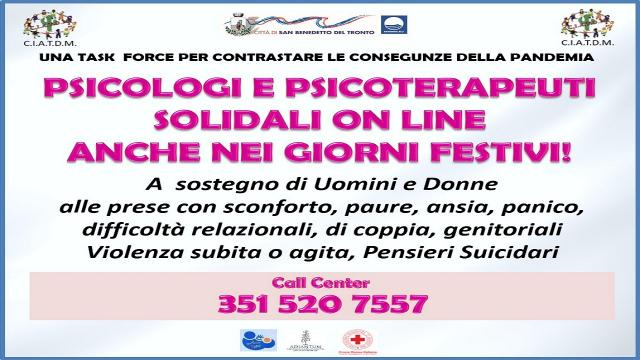 San Benedetto, torna la task force di psicologi a sostegno dei cittadini