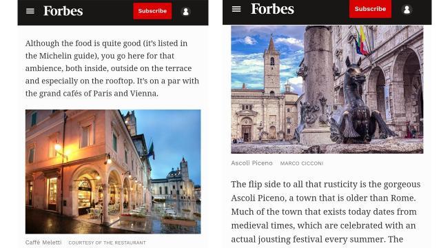 Ascoli Piceno e il Caffè Meletti sulla prestigiosa rivista Forbes. 'Una città più antica di Roma, orgogliosa e turrita'