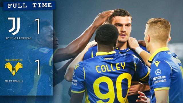 Juventus-Verona 1-1, highlights. L'ex Ascoli Favilli a segno all'Allianz Stadium